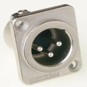 Amphenol AC3MMDZ 3 Pin Male XLR Chassis Connector