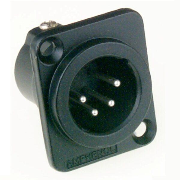 Amphenol AC4MDZB 4 Pin Male XLR Chassis Connector